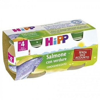 Hipp omogeneizzato salmone con verdure 2x80 g
