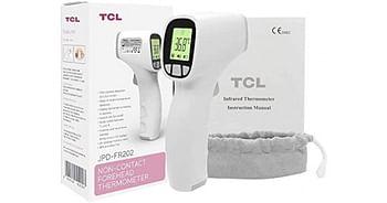 Termometro a infrarossi senza contatto non-contact foreheadjpd-fr202 con 2 batterie aaa marsupio e istruzioni d'uso