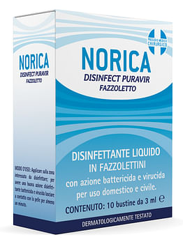 Norica disinfect puravir fazzoletto 10 bustine da 3 ml