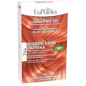Euphidra colorpro gel colorante capelli xd 744 paprika 50 ml in flacone + attivante + balsamo + guanti
