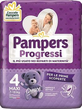 Pampers progressi maxi pannolino 4 7-18kg 22 pezzi