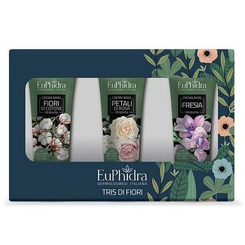 Euphidra tris di fiori 1 crema mani rosa + 1 crema mani cotone + 1 crema mani fresia