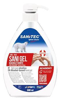 Gel igienizzante mani alcolico 70% pronto all'uso sani gel sanitec 600 ml uso professionale
