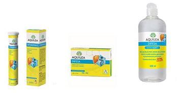 Aquilea box unmesedidifesa 2 aquilea vitamina c 14 compresse + 1 aquilea difesa 30 capsule + 1 aquilea sanigel pocket 100 ml